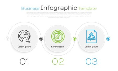 Set line Earth globe and leaf, No canister for gasoline and Paper with recycle. Business infographic template. Vector Reklamní fotografie - 136977807