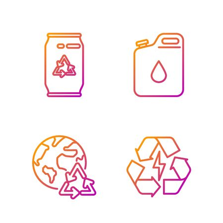 Set line Battery with recycle symbol, Planet earth and a recycling, Can with recycle symbol and can and Canister for gasoline. Gradient color icons. Vector