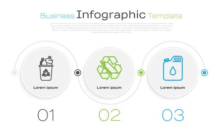 Set line Recycle bin with recycle symbol, Recycling plastic bottle and Canister for gasoline. Business infographic template. Vector Ilustrace