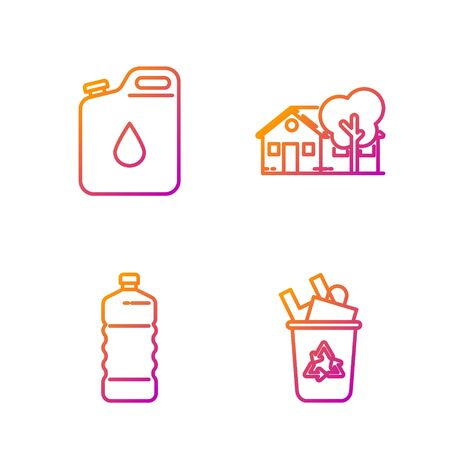 Set line Recycle bin with recycle symbol, Plastic bottle, Canister for gasoline and Eco friendly house. Gradient color icons. Vector Ilustrace