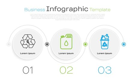 Set line Recycle symbol and leaf, Canister for gasoline and Recycle bin with recycle symbol. Business infographic template. Vector Ilustrace