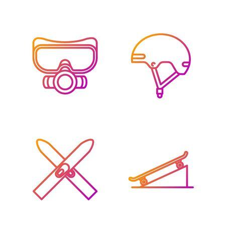 Set line Skateboard on street ramp, Ski and sticks, Diving mask and Helmet. Gradient color icons. Vector