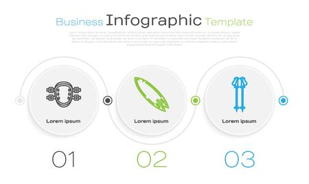 Set line Knee pads, Surfboard and Ski poles. Business infographic template. Vector