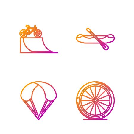 Set line Bicycle wheel, Parachute, Bicycle on street ramp and Rafting boat. Gradient color icons. Vector Иллюстрация