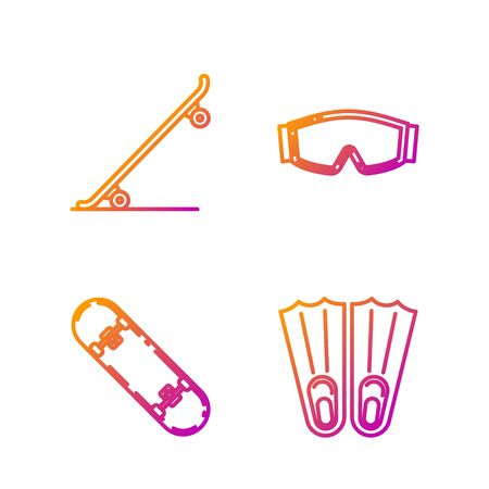 Set line Rubber flippers for swimming, Skateboard trick, Skateboard and Ski goggles. Gradient color icons. Vector