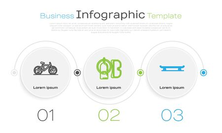 Set line Bicycle, Diving mask and aqualung and Skateboard. Business infographic template. Vector