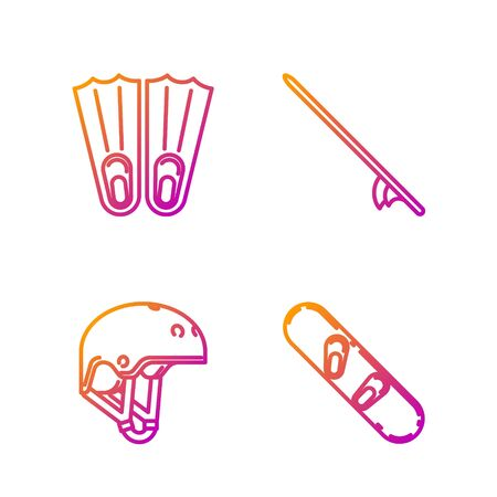 Set line Snowboard, Helmet, Rubber flippers for swimming and Surfboard. Gradient color icons. Vector