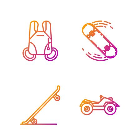 Set line All Terrain Vehicle or ATV motorcycle, Skateboard, Parachute and Skateboard trick. Gradient color icons. Vector Vectores