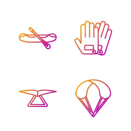 Set line Parachute, Hang glider, Rafting boat and Gloves. Gradient color icons. Vector
