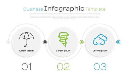 Set line Classic elegant opened umbrella, Tornado and Cloud. Business infographic template. Vector