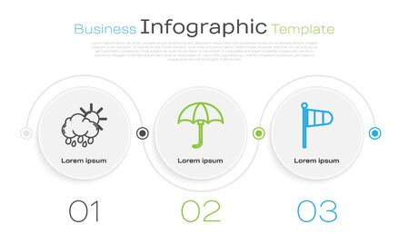 Set line Cloud with rain and sun, Classic elegant opened umbrella and Cone meteorology windsock wind vane. Business infographic template. Vector Иллюстрация