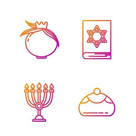 Set line Jewish sweet bakery, Hanukkah menorah, Pomegranate and Jewish torah book. Gradient color icons. Vector