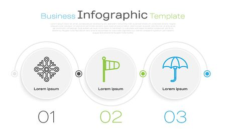 Set line Snowflake, Cone meteorology windsock wind vane and Classic elegant opened umbrella. Business infographic template. Vector