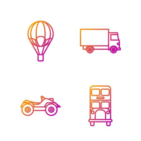 Set line Double decker bus, All Terrain Vehicle or ATV motorcycle, Hot air balloon and Delivery cargo truck vehicle. Gradient color icons. Vector Vectores