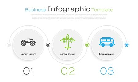 Set line All Terrain Vehicle or ATV motorcycle, Old retro vintage plane and Retro minivan. Business infographic template. Vector Vectores