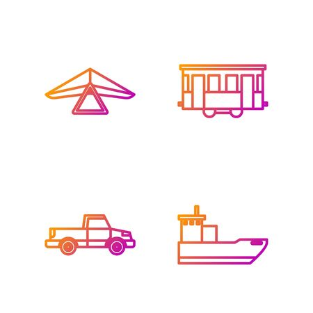 Set line Cargo ship, Pickup truck, Hang glider and Old city tram. Gradient color icons. Vector Illustration