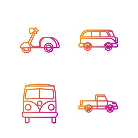 Set line Pickup truck, Retro minivan, Scooter and Retro minivan. Gradient color icons. Vector