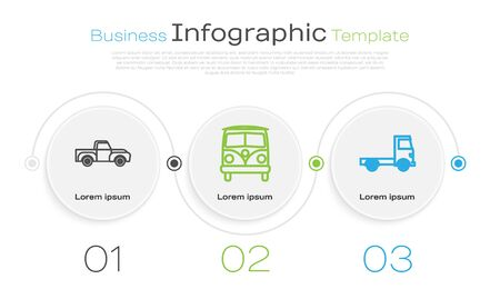 Set line Pickup truck, Retro minivan and Delivery cargo truck vehicle. Business infographic template. Vector