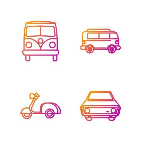 Set line Car, Scooter, Retro minivan and Retro minivan. Gradient color icons. Vector