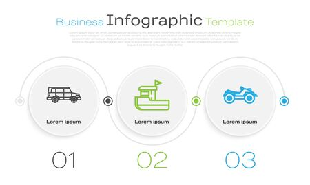 Set line Off road car, Fishing boat and All Terrain Vehicle or ATV motorcycle. Business infographic template. Vector