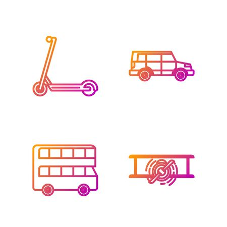 Set line Old retro vintage plane, Double decker bus, Scooter and Off road car. Gradient color icons. Vector