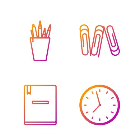 Set line Clock, Notebook, Pencil case stationery and Paper clip. Gradient color icons. Vector