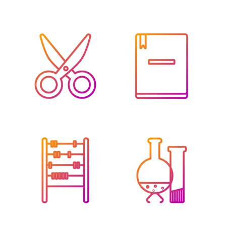 Set line Test tube and flask chemical laboratory test, Abacus, Scissors and Notebook. Gradient color icons. Vector