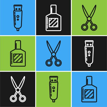Set line Electrical hair clipper or shaver, Scissors hairdresser and Aftershave icon. Vector
