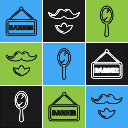 Set line Barbershop, Hand mirror and Mustache and beard icon. Vector