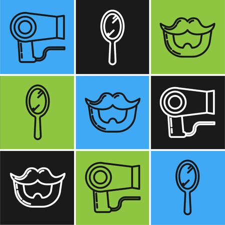 Set line Hair dryer, Mustache and beard and Hand mirror icon. Vector