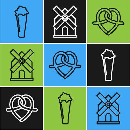 Set line Glass of beer, Pretzel and Windmill icon. Vector