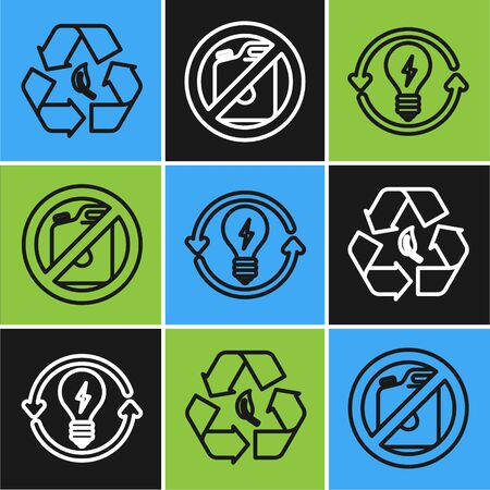 Set line Recycle symbol and leaf, Recycle and light bulb with lightning symbol and No canister for gasoline icon. Vector