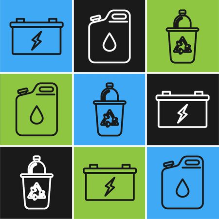 Set line Car battery, Recycle bin with recycle symbol and Canister for gasoline icon. Vector