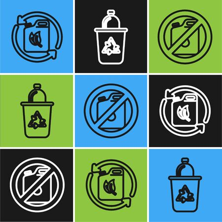Set line Bio fuel canister, No canister for gasoline and Recycle bin with recycle symbol icon. Vector
