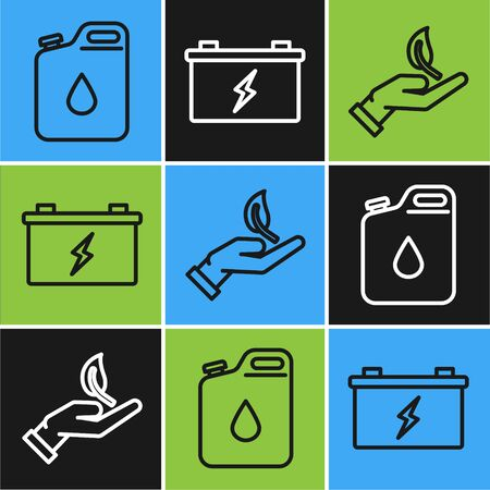 Set line Canister for gasoline, Sprout in hand of environmental protection and Car battery icon. Vector Ilustrace