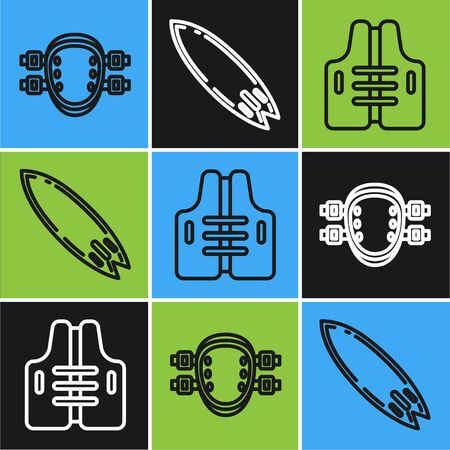 Set line Knee pads, Life jacket and Surfboard icon. Vector