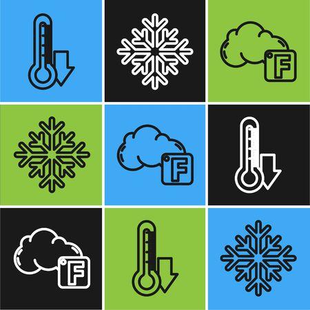 Set line Thermometer, Fahrenheit and cloud and Snowflake icon. Vector Vektoros illusztráció
