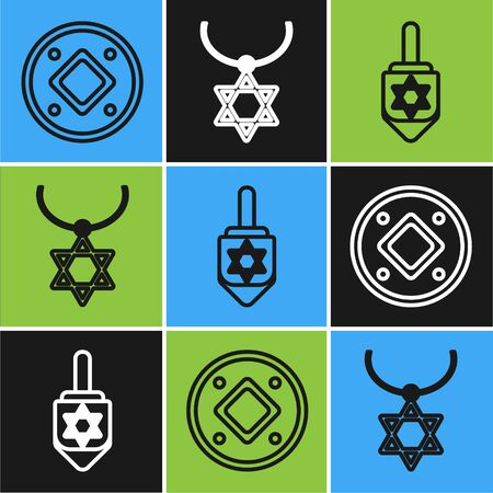 Set line Jewish coin, Hanukkah dreidel and Star of David necklace on chain icon. Vector Vettoriali
