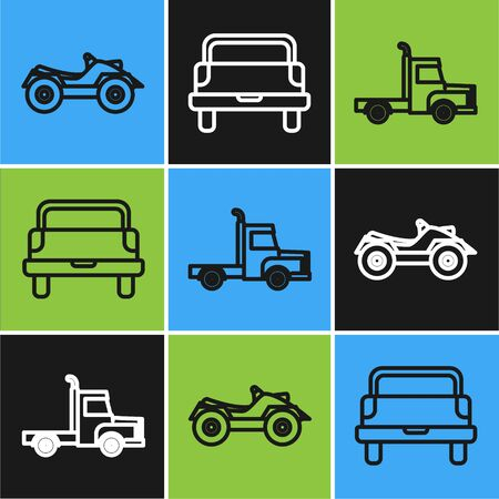 Set line All Terrain Vehicle or ATV motorcycle, Delivery cargo truck vehicle and Pickup truck icon. Vector Ilustración de vector