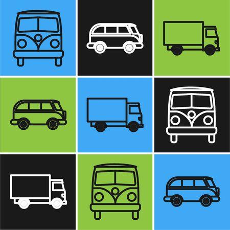 Set line Retro minivan, Delivery cargo truck vehicle and Retro minivan icon. Vector