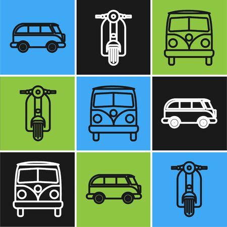 Set line Retro minivan, Retro minivan and Scooter icon. Vector