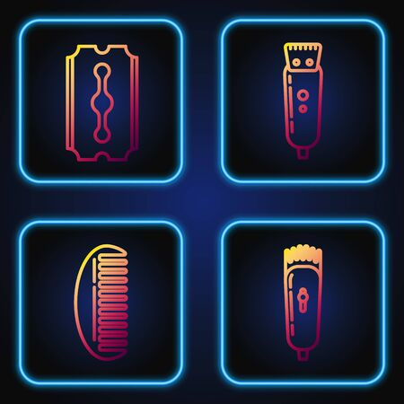 Set line Electrical hair clipper or shaver, Hairbrush, Blade razor and Electrical hair clipper or shaver. Gradient color icons. Vector
