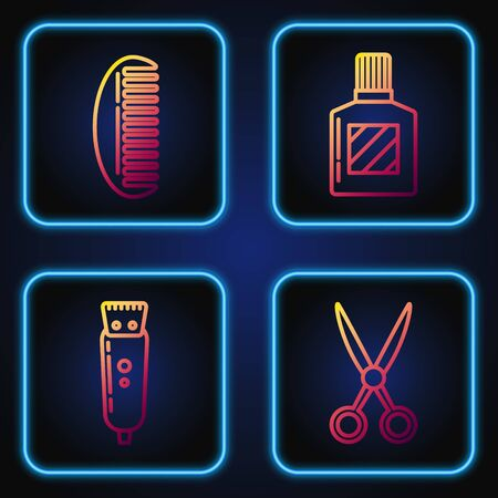 Set line Scissors hairdresser, Electrical hair clipper or shaver, Hairbrush and Aftershave. Gradient color icons. Vector
