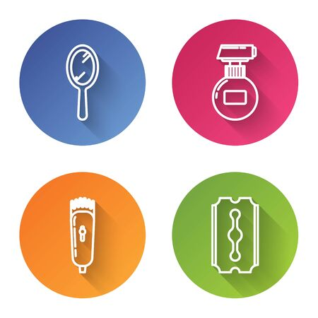 Set line Hand mirror, Cream or lotion cosmetic tube, Electrical hair clipper or shaver and Blade razor. Color circle button. Vector
