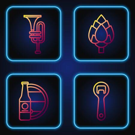 Set line Bottle opener, Beer bottle and wooden barrel, Musical instrument trumpet and Hop. Gradient color icons. Vector