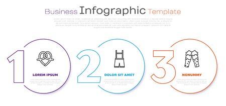 Set line Pretzel, Lederhosen and Glass of beer. Business infographic template. Vector