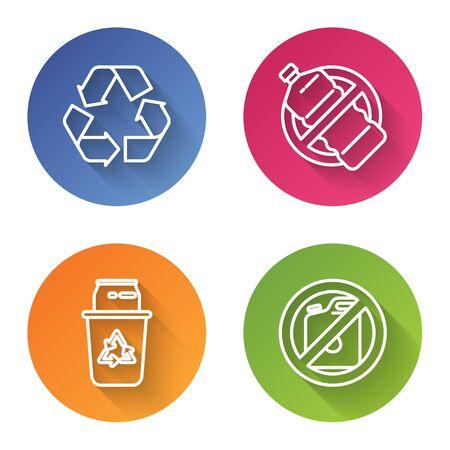 Set line Recycle symbol, No plastic bottle, Recycle bin with recycle symbol and can and No canister for gasoline. Color circle button. Vector