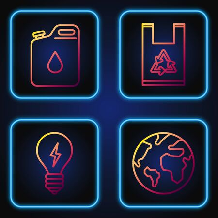Set line Earth globe, Light bulb with lightning symbol, Canister for gasoline and Plastic bag with recycle. Gradient color icons. Vector Ilustrace
