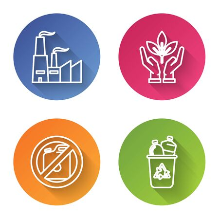 Set line Factory, Plant in hand of environmental protection, No canister for gasoline and Recycle bin with recycle symbol. Color circle button. Vector Reklamní fotografie - 137033100