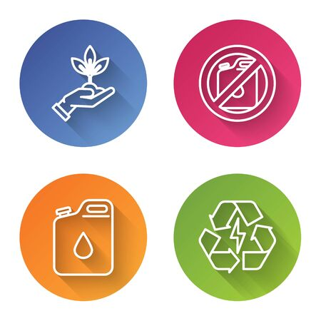 Set line Plant in hand of environmental protection, No canister for gasoline, Canister for gasoline and Battery with recycle symbol. Color circle button. Vector